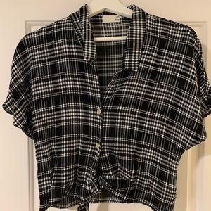 Aritzia black and white plaid blouse